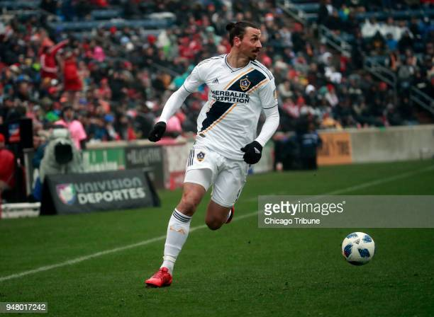Los Angeles Galaxy forward Zlatan Ibrahimovic controls the ball against the Chicago Fire at Toyota Park in Bridgeview Ill on Saturday April 14 2018...