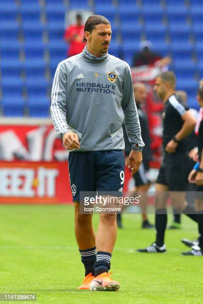 Los Angeles Galaxy forward Zlatan Ibrahimovic during warm ups prior to the Major League Soccer game between the New York Red Bulls and the Los...