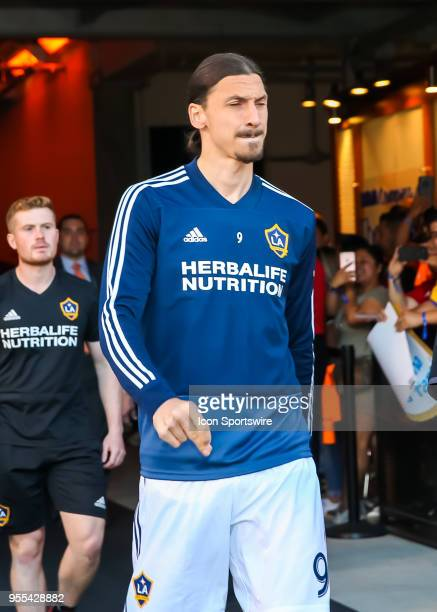 Los Angeles Galaxy forward Zlatan Ibrahimovic enters the stadium before the soccer match between the LA Galaxy and Houston Dynamo on May 5 2018 at...