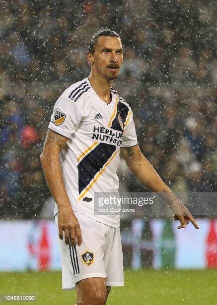 Los Angeles Galaxy forward Zlatan Ibrahimovic in a driving rain in the second half of an MLS match between the LA Galaxy and Sporting Kansas City on...