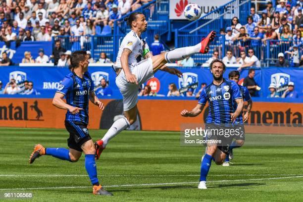 Los Angeles Galaxy forward Zlatan Ibrahimovic kicks the ball in the air during the LA Galaxy versus the Montreal Impact game on May 21 at Stade...