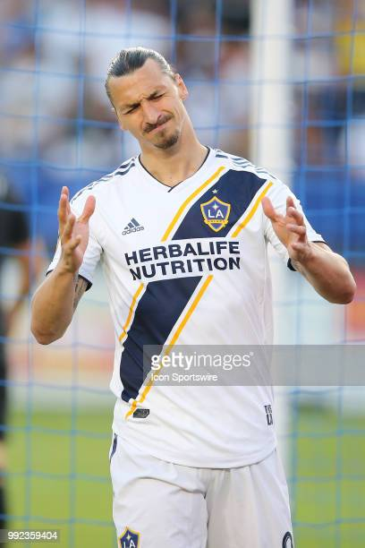 Los Angeles Galaxy forward Zlatan Ibrahimovic laments his missed opportunity after failing to convert on a great scoring chance in the first half in...