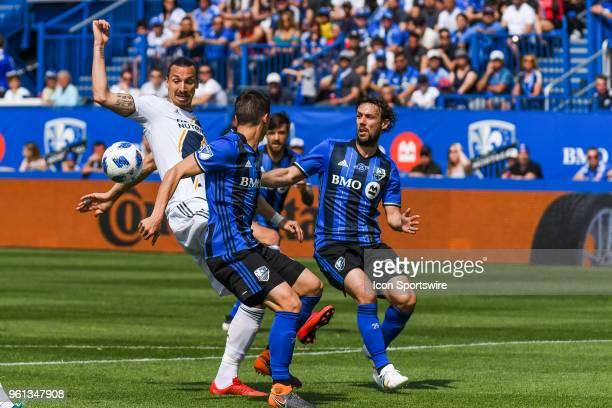 Los Angeles Galaxy forward Zlatan Ibrahimovic looks at the ball behind him during the LA Galaxy versus the Montreal Impact game on May 21 at Stade...
