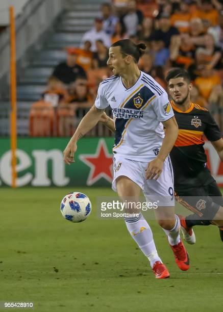 Los Angeles Galaxy forward Zlatan Ibrahimovic looks for an open player during the soccer match between the LA Galaxy and Houston Dynamo on May 5 2018...