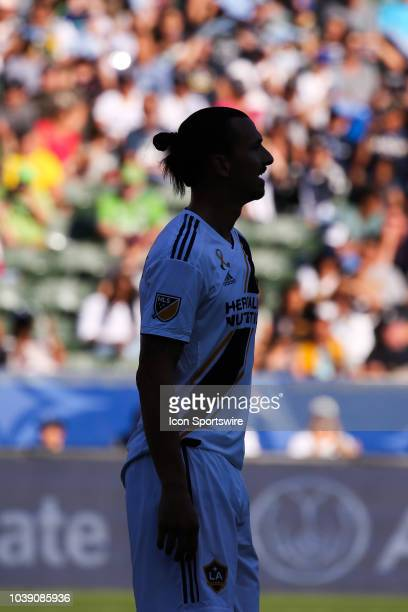 Los Angeles Galaxy forward Zlatan Ibrahimovic looks on during a MLS game between the Seattle Sounders and Los Angeles Galaxy on September 23 2018 at...