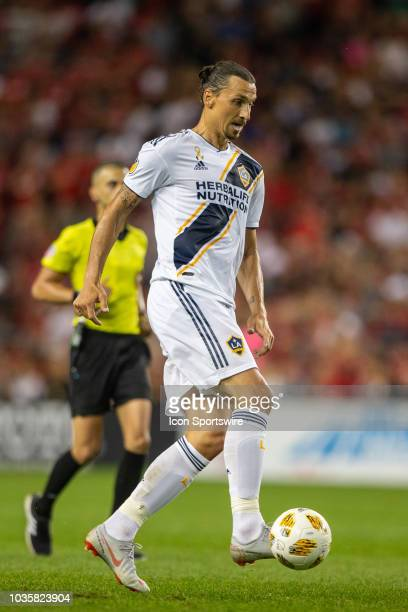 Los Angeles Galaxy forward Zlatan Ibrahimovic moves the ball against Toronto FC on September 15 at BMO Field in Toronto ON Canada