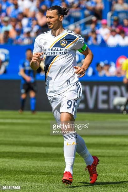 Los Angeles Galaxy forward Zlatan Ibrahimovic runs on the field during the LA Galaxy versus the Montreal Impact game on May 21 at Stade Saputo in...