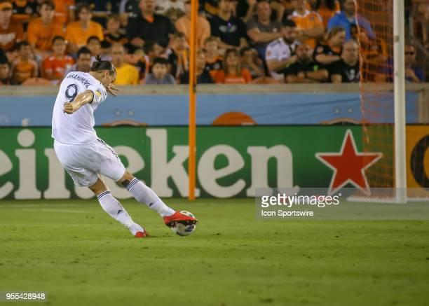 Los Angeles Galaxy forward Zlatan Ibrahimovic strikes on goal during the soccer match between the LA Galaxy and Houston Dynamo on May 5 2018 at BBVA...