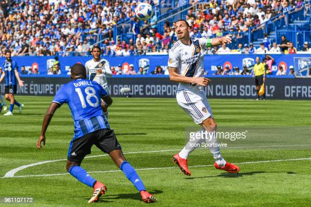 Los Angeles Galaxy forward Zlatan Ibrahimovic tracks the ball in the air during the LA Galaxy versus the Montreal Impact game on May 21 at Stade...