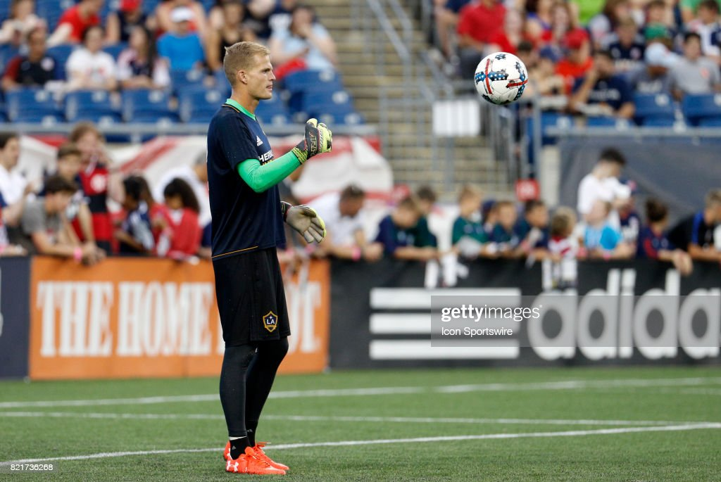Los Angeles Galaxy goalkeeper Jon Kempin (22) before a regular season MLS match between the New England Revolution and the Los Angeles Galaxy on July 22, 2017, at Gillette Stadium in Foxborough, Massachusetts. The Revolution defeated the Galaxy 4-3.