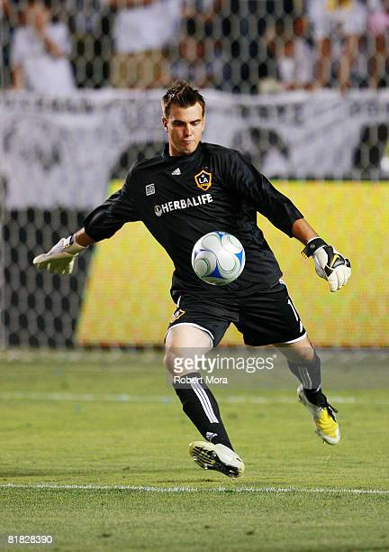 Los Angeles Galaxy Goalkeeper Steve Cronin takes a goal kick during their MLS game against the New England Revolution at Home Depot Center on July 4...
