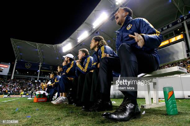 Los Angeles Galaxy Head Coach Ruud Gullit shouts instructions to his team during their MLS game against the Kansas City Wizards at Home Depot Center...