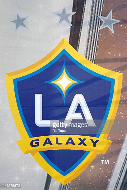 Los Angeles Galaxy logo during the international friendly match against Tottenham Hotspur at The Home Depot Center on July 24 2012 in Carson...