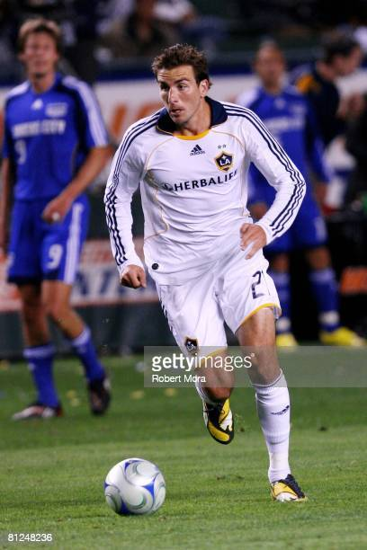 Los Angeles Galaxy Midfielder Alan Gordon attacks the defense of the Kansas City Wizards during their MLS game at Home Depot Center on May 24 2008 in...
