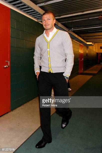 Los Angeles Galaxy Midfielder David Beckham arrives prior to the MLS game against the Kansas City Wizards at Home Depot Center on May 24 2008 in...
