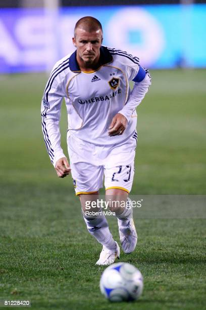 Los Angeles Galaxy Midfielder David Beckham attacks the defense of the Kansas City Wizards during their MLS game at Home Depot Center on May 24 2008...
