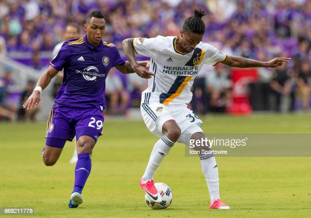 Los Angeles Galaxy midfielder Jack McBean holds the ball During the MLS soccer match between the Orlando City FC vs LA Galaxy on April 15th 2017 at...