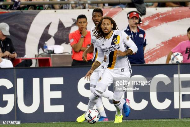 Los Angeles Galaxy midfielder Jermaine Jones looks to the middle during a regular season MLS match between the New England Revolution and the Los...