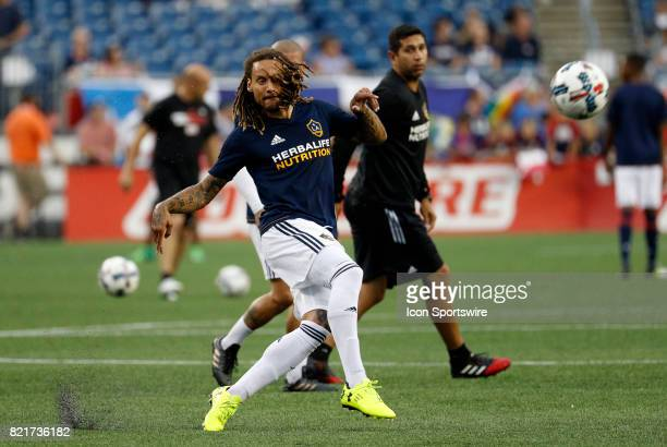 Los Angeles Galaxy midfielder Jermaine Jones plays a ball in warm up before a regular season MLS match between the New England Revolution and the Los...
