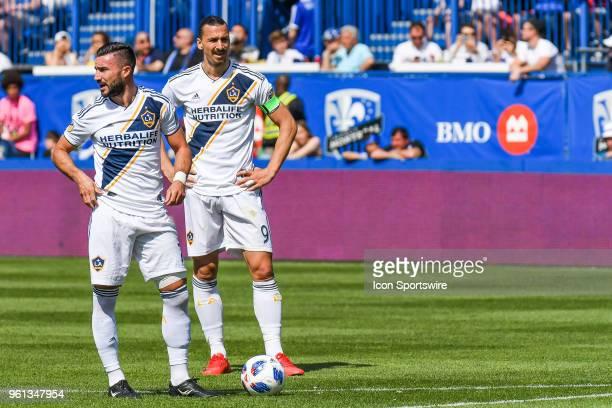 Los Angeles Galaxy midfielder Romain Alessandrini and Los Angeles Galaxy forward Zlatan Ibrahimovic stand before a free kick during the LA Galaxy...