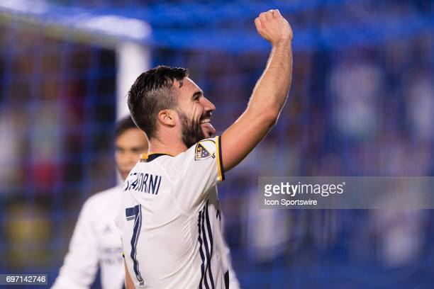 Los Angeles Galaxy midfielder Romain Alessandrini celebrates after scoring a goal in the final minutes during the game between the LA Galaxy and the...