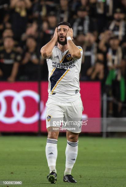 Los Angeles Galaxy midfielder Romain Alessandrini shows his frustration during a MLS match between the Los Angeles FC and the Los Angeles Galaxy July...