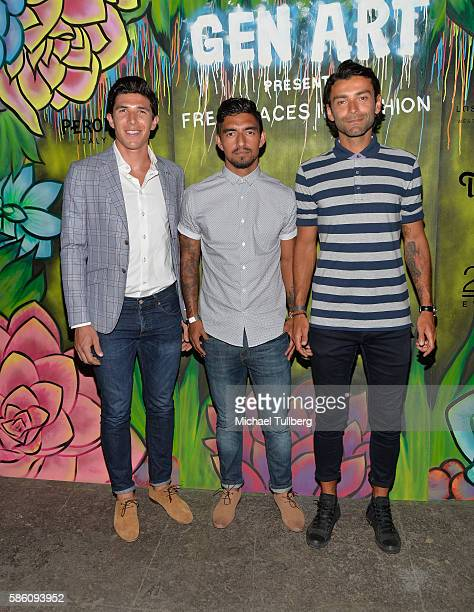 Los Angeles Galaxy soccer players Bryan Rowe AJ DeLaGarza and Baggio Husidic attend the Gen Art Fresh Faces in Fashion Los Angeles fashion show at...
