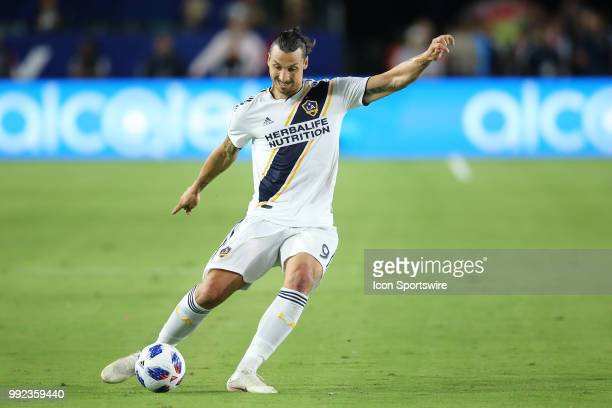 Los Angeles Galaxy star forward Zlatan Ibrahimovic send a ball in near the goal in the game between the DC United and the LA Galaxy on July 04 2018...
