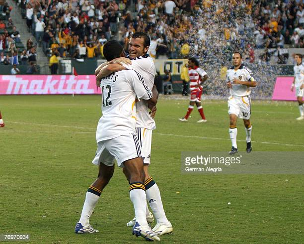 Los Angeles Galaxy's Chris Klein and Troy Roberts celebrate goal scored against FC Dallas during today's match at the Home Depot Center on September...