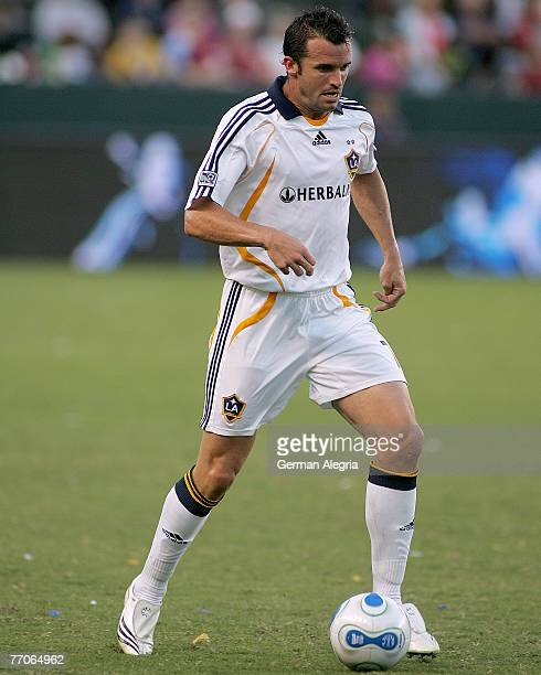Los Angeles Galaxy's Chris Klein in action against FC Dallas defensive line during today's match at the Home Depot Center on September 23 2007 in...