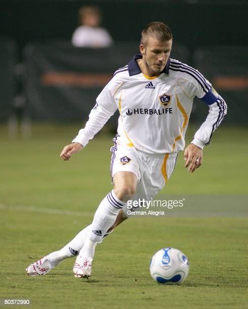 Los Angeles Galaxy's David Beckham in action during the celebrity match vs Hollywood United today at the Home Depot Center