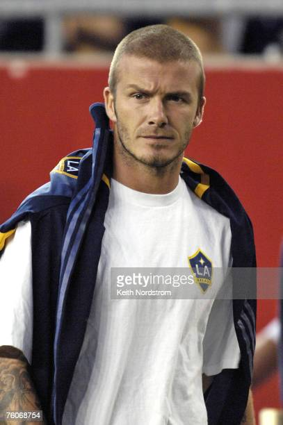 Los Angeles Galaxy's David Beckham walks to the locker room at half time of the MLS match against the New England Revolution at Gillette Stadium in...