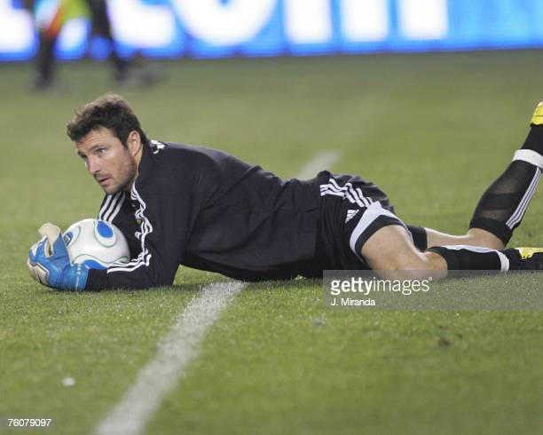 Los Angeles Galaxy's goalkeeper Joe Cannon against Chivas USA's in the first of four Super Clasico matches at The Home Depot Center in Carson...