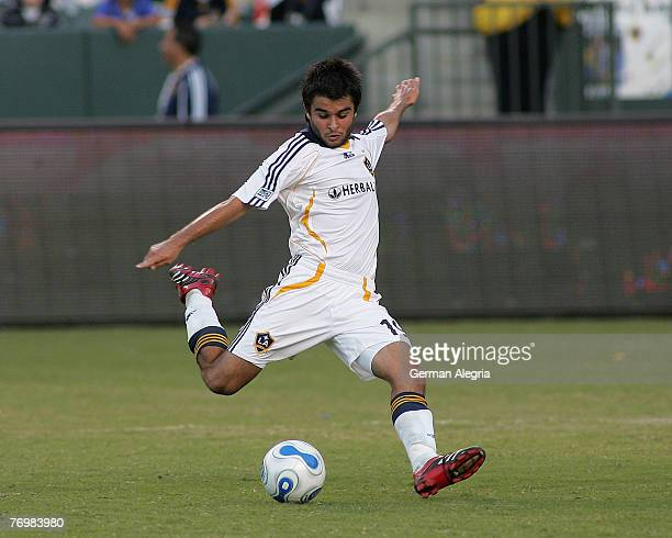 Los Angeles Galaxy's Josh Tudela in action against FC Dallas defensive line during today's match at the Home Depot Center on September 23 2007 in...