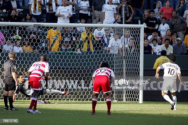Los Angeles Galaxy's Landon Donovan fires a shot pass FC Dallas GK Dario Sala during today's match at the Home Depot Center on September 23 2007 in...