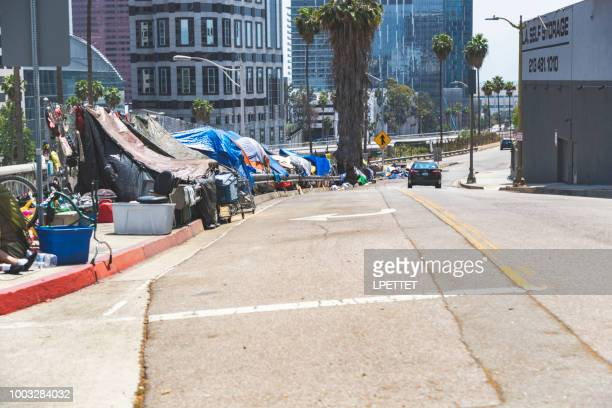 los angeles homeless camp - homelessness stock pictures, royalty-free photos & images