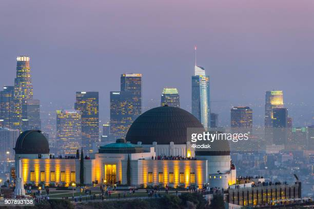 los angeles in the evening hour - griffith park stock pictures, royalty-free photos & images