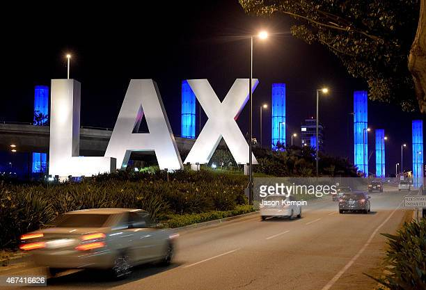 Los Angeles International Airport is seen during National Landmarks Illuminated Across US To Shine Light On Ebola Crisis And Show Solidarity With...