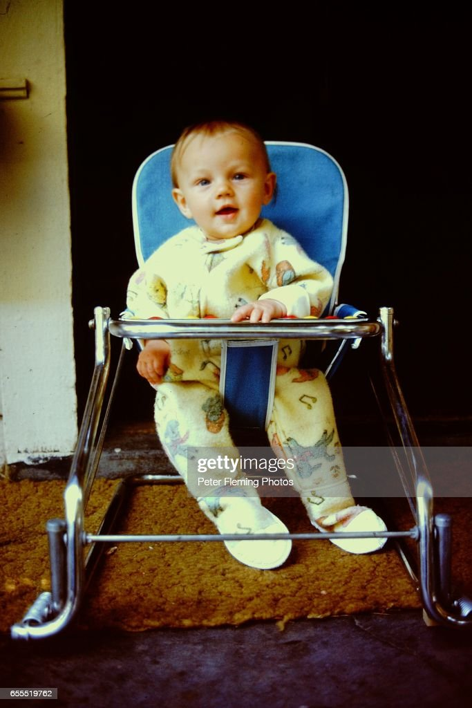 Los Angeles July 1975 Leonardo DiCaprio sitting in baby seat Posing for a portrait in his home in Hollywood California.