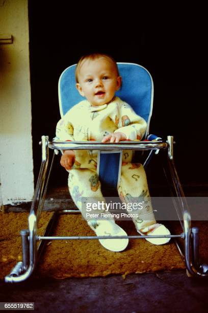 Los Angeles July 1975 Leonardo DiCaprio sitting in baby seat Posing for a portrait in his home in Hollywood California