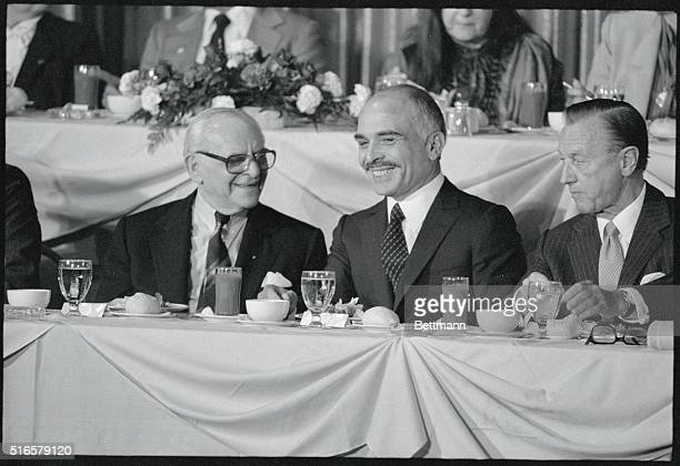 King HUssein chats with Armand Hammer President of Occidental Petroleum at the World Affairs Council where Hussein speaks In his speech Hussein of...
