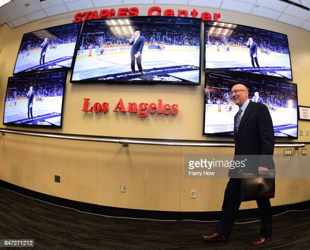 Los Angeles King's announcer Bob Miller arrives at his press conference to announce his retirement at the end of the season before the game between...