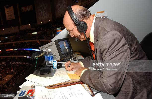 Los Angeles Kings announcer Bob Miller goes over game notes during the game against the Detroit Red Wings on October 16 2006 at the Staples Center in...