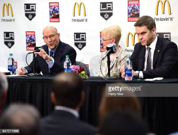 Los Angeles King's announcer Bob Miller speaks to media as he sits alongside his wife Judy Miller and President of business operations for the Los...