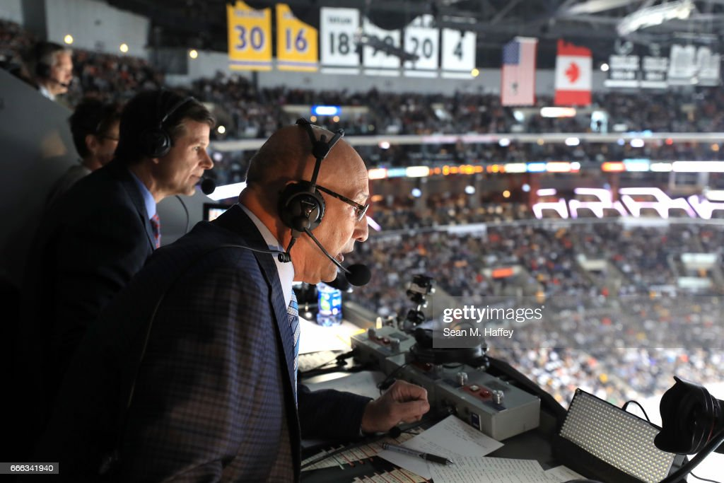 Los Angeles Kings broadcasters Jim Fox and Bob Miller announce a game between the Los Angeles Kings and the Chicago Blackhawks at Staples Center on April 8, 2017 in Los Angeles, California.
