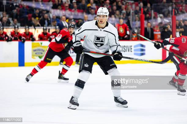 Los Angeles Kings Center Adrian Kempe applies pressure on the forecheck during first period National Hockey League action between the Los Angeles...