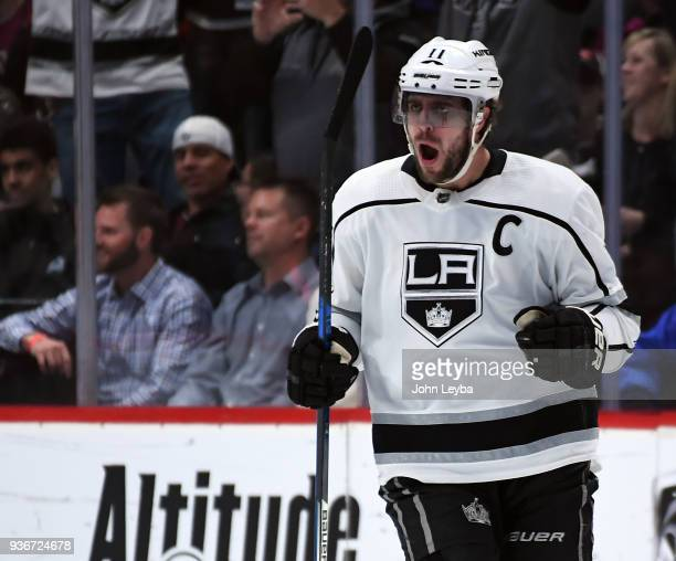 Los Angeles Kings center Anze Kopitar celebrates his second goal during the first period against the Colorado Avalanche on March 22 2018 at Pepsi...