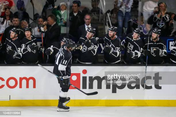 Los Angeles Kings Center Anze Kopitar skates the bench after scoring a goal in the first period during a NHL game between the San Jose Sharks and Los...