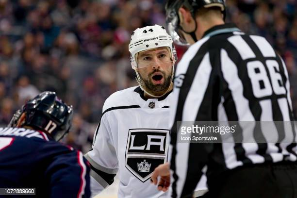 Los Angeles Kings center Nate Thompson argues with linesman Jesse Marquis in a game between the Columbus Blue Jackets and the Los Angeles Kings on...