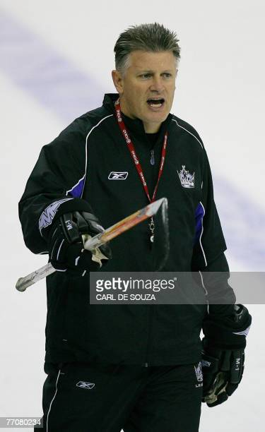 Los Angeles Kings Coach, Marc Crawford, is seen in action during training at the O2 Arena in London 28 September 2007. The Ducks were training ahead...